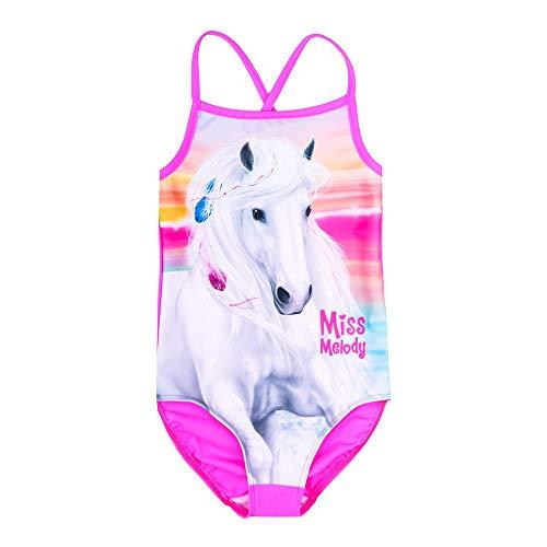 Miss Melody Mädchen Badeanzug, pink, rosa Größe 140, 10 Jahre