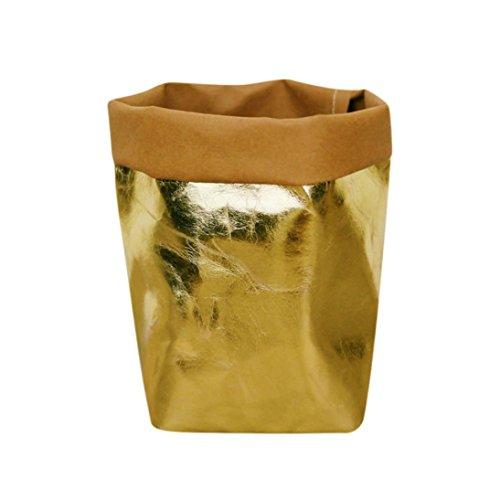 Squarex lavable Kraft Sac en papier pour plantes Pots de fleurs multifonction Sac de rangement de maison Réutilisez AS SHOW doré
