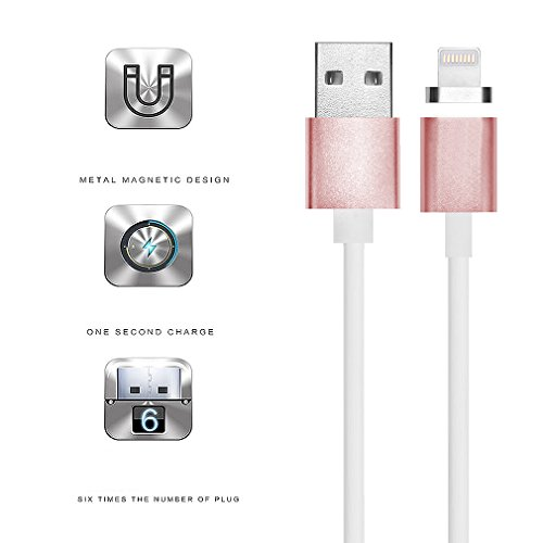 First2savvv oro Super Forte Cavo Lightning con calamita. Connessione magnetica per Apple iPhone 7 6S/6 Plus, iPhone 5S/5C/5, iPad Pro/Air 2, iPad Mini 4. 1,2 m e 2.4 A CTX-A-BB13 2 X rosa