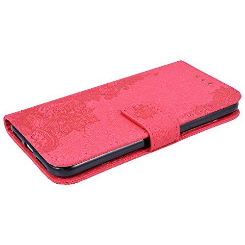 SMART LEGEND Lederhülle für iPhone X Ledertasche Hülle Drucken Weinstock Muster Schutzhülle Premium PU Leder mit Handschlaufe Flip Case Protective Cover Innere Weiche Silikon Bookcase Handy Tasche Sch Rot