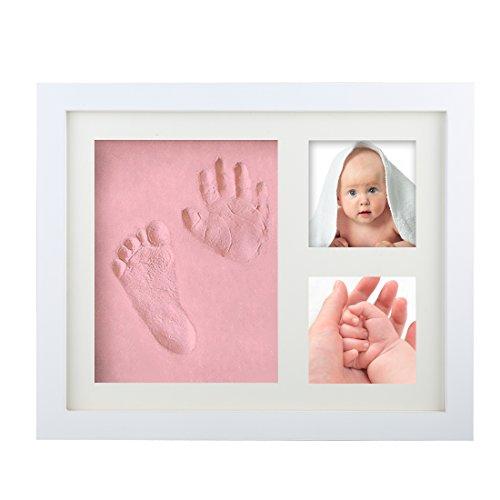 Baby Bilderrahmen Fotorahmen ,Tatuer Holzbilderrahmen Baby Rahmen Abdruck - Mit Geschenk Box - Ungiftigem Lehm -3D DIY Foto Bereich Weihnachtsgeschenke für Süße Ewigkeit Erinnerungen