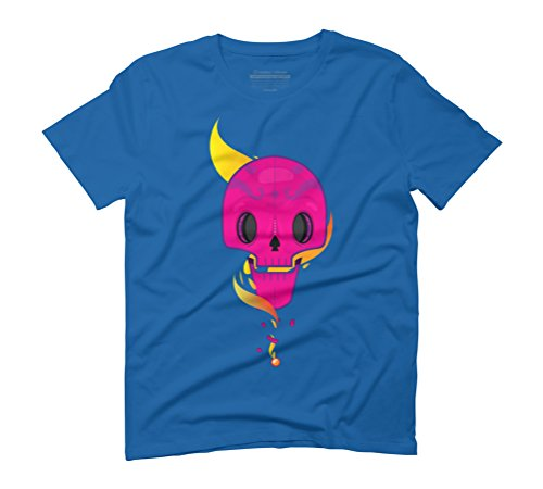 Flaming Skull Men's 2X-Large Royal Blue Graphic T-Shirt - Design By Humans (Flame Blue Skull T-shirt)