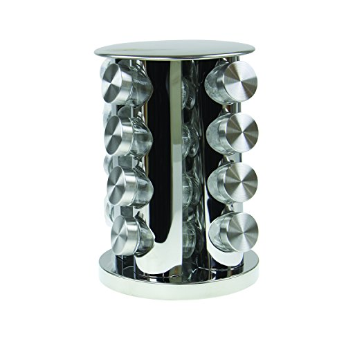 Royal Cuisine Revolving Spice Rack Herb Holder Storage Stand With 16 Glass Jars