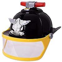 Te - Trend Children Fire Helmet Fireman Helmet Cap Visor Light Sound Black Fancy Dress Accessory Toy