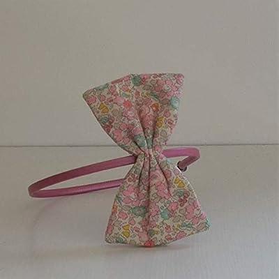 Serre tete noeud Liberty Betsy ann sweet pink Serre tete incassable metal recouvert avec noeud Liberty Betsy ann sweet pink