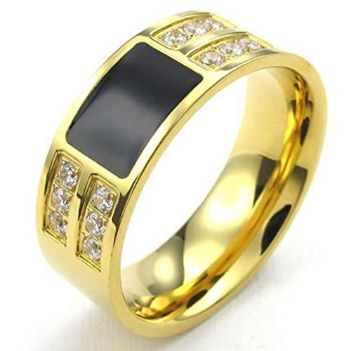 Acero Inoxidable Anillo de Hombre Clásico Oro Cz Negro Tamaño 25 por AieniD
