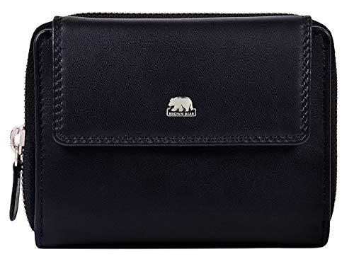 Brown Bear Geldbörse Damen Leder Schwarz groß viele Fächer RFID Schutz und Reißverschluss hochwertig Design Geldbeutel Frauen Portemonnaie Portmonaise Portmonee