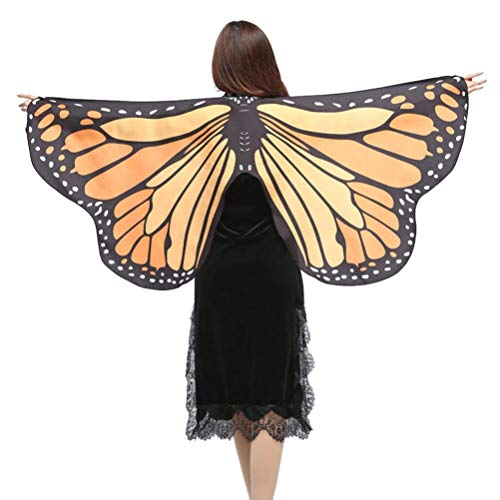 (IZHH Frauen/Damen Neuheit Feenhafte Nymphe Pixie Halloween Cosplay Karneval Zubehör Weihnachten Cosplay Kostüm Zusatz, Gedruckted Weiche Gewebe Schmetterlings Flügel Butterfly Cape Schal Wrap Kimono)