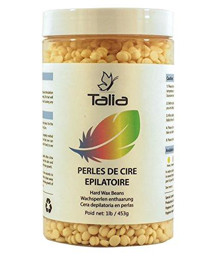 Talia® - Perles de Cire Epilatoire - Hard Wax Beans - Bouteille de 453gr - Epilation des jambes bras aisselles maillot bikini visage sourcils dos - sans bande - qualité professionnelle à domicile (Karitene, 453gr)