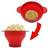 BIlinl Microwave Popcorn Popper Faltbare Silikonschüssel BPA-FREI mit Deckel und Griffen