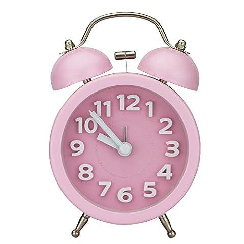 PiLife Mini Doppelglockenwecker , Klassik Wecker Clock mit Nacht Licht, lauter Alarm, kein Ticken, geräuschlos, Wecker große zahlen, batteriebetrieben, 3 Zoll(3D rosa)