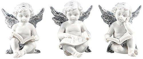 Pajoma 10552, angelo personaggi con libro silver set di 3, in resina, 6x 6x 7cm