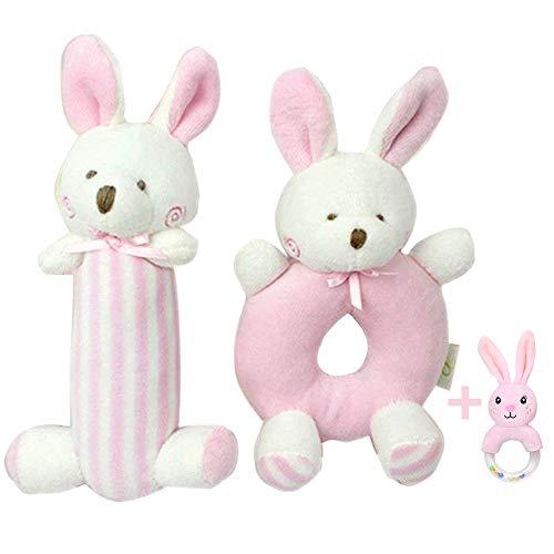 yssabout weiche Babyrassel, Plüschtier, Spielzeug ideal für die Sensorik, 2 Stück. Blauer Bär für Jungen 14,2 cm, 10,1 cm - Stofftier für Neugeborene -Geschenk für Neugeborene im Kinderbett (Pink) - Soft-plüsch Plüschtiere