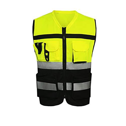 Gilet réfléchissant Sécurité Nuit Course à pied Cyclisme Poche Points forts Vêtements de protection fluorescents respirants (Color : Yellow-L)