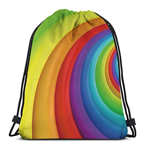Drawstring Backpack Kids Adults Bag for Gym Traveling,Rainbow,Rainbow Colored Half Circles Getting Bigger and Bigger Perspective Computer Graphic,Multicolor