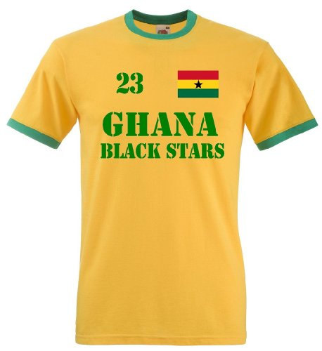 Fruit of the Loom Ghana Black Stars Herren T-Shirt Retro Trikot Nr.23|L