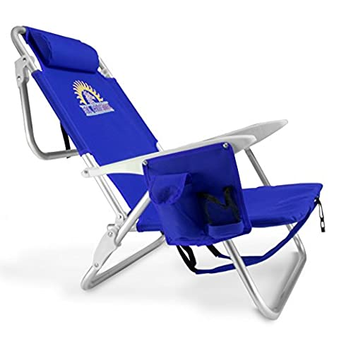 Sol Coastal 4-Position Lay Flat Beach Chair with Carry Straps & Storage Pouch, Blue