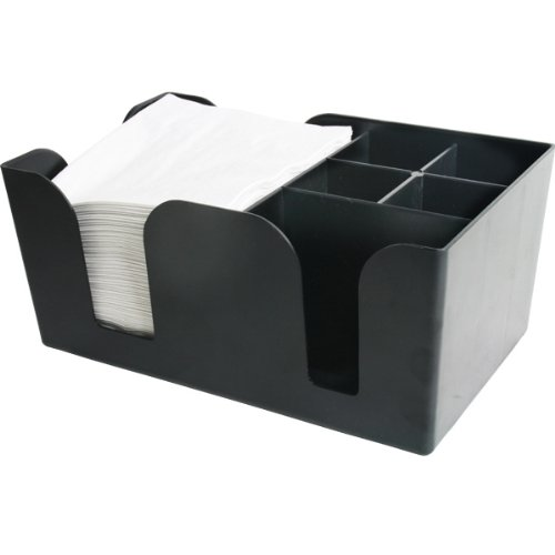 Bar@Drinkstuff - Bar caddy classic | plástico bar caddy negro, aide, almacenaje, organizador, barra condimento caddy, sostenedor de la servilleta, sostenedor de la paja de la barra de la barra de la barra