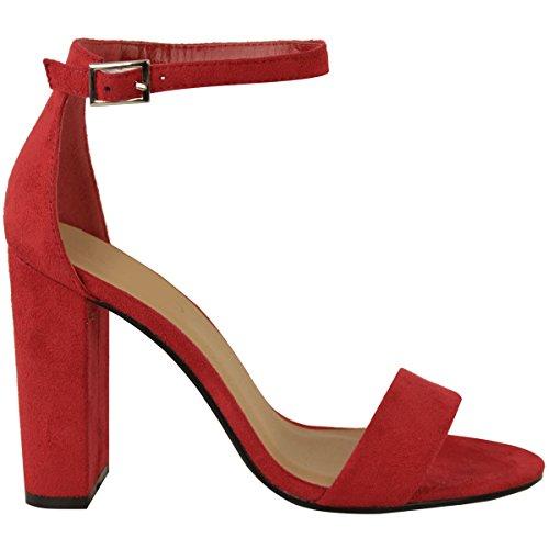 Femmes - Sandales bout ouvert lanière talon bloc haut sexy Rouge Daim Synthétique