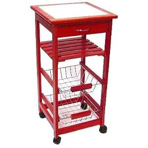 meuble rangement cuisine bois rouge ceramique blanc 37x37x76 cm cuisine maison. Black Bedroom Furniture Sets. Home Design Ideas