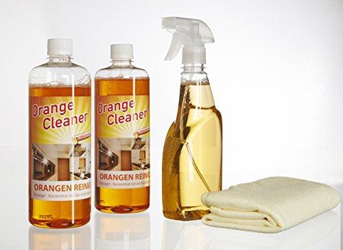 Orangenreiniger Konzentrat ergibt bis zu 200 Liter Reiniger 2 x 750 ml inkl. Sprühflasche, Mikrofasertuch Fettlöser Polsterreiniger Badreiniger