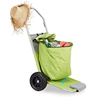 Relaxdays Beach Cart Lounger with Bag, Folding Trolley with Wheels, Backrest Adjustable in 5 Places, Green