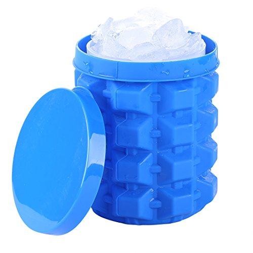 RIUIN Ice Genie Cube Maker, Eisbehälter Silikon mit Deckel Eiswürfel Formen platzsparende Eiswürfelbereiter Sommer Home für Whiskey, Cocktail und Jedes Getränk(1 Stück)