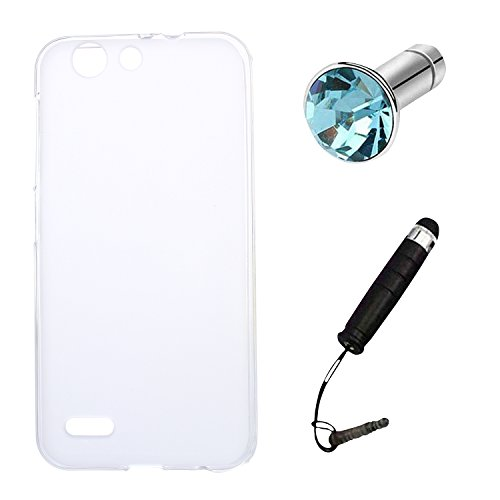 Lusee Silikon TPU Hülle für Vodafone Smart E8 Schutzhülle Case Cover Protektiv Silicone halb transparent weiß
