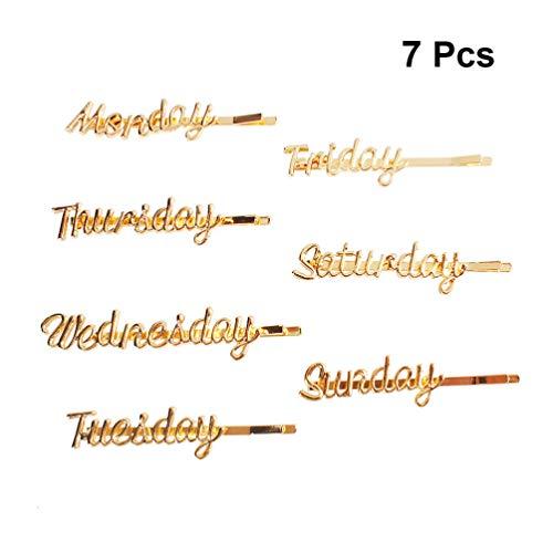 Beaupretty 7 stücke buchstaben haarspange bobby pins styling woche montag bis sonntag wort metall haarnadelspangen für frauen mädchen hochzeit braut party geschenke (golden)