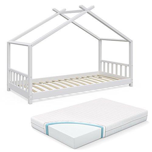 Vicco Kinderbett Hausbett Design 90x2000cm Weiß Kinder Bett Holz Haus Schlafen Hausbett Spielbett Inkl. Lattenrost und 7-Zonen Kaltschaum Matratze