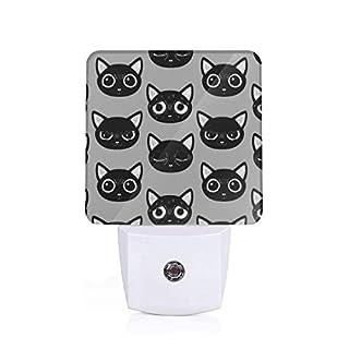 Led Night Light Black Cat Expression Auto Senor Dusk to Dawn Night Light Plug in for Baby, Kids, Children's Room