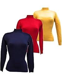 Orocolato Fashion - Confezione da 3 Lupetti Donna Essential a Maniche  Lunghe in Tinta Unica - Caldo e Soffice - Taglie e… bb7ea4442a2