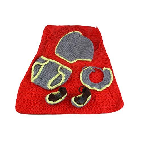 General Kostüm Armee - ENCOCO Armee General Neugeborene Baby-Kostüm, Outfits Fotografie Requisiten Set für Baby Jungen Mädchen rot