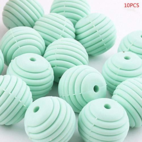 Liaobeiotry 10 Teile/paket Silikonkugeln Baby Kinderkrankheiten Spirale Runde Perlen DIY Halskette Kleinkinder Beißring Schnullerkette Zubehör