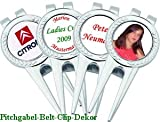 Golfgeschenk Pitchgabel Belt-Clip mit Foto-, oder Textdruck!
