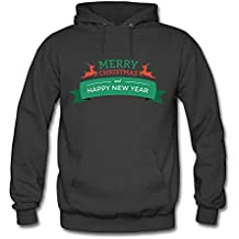 Womens Merry Christmas and Happy New Year Casual Pullover Hooded Sweatshirt
