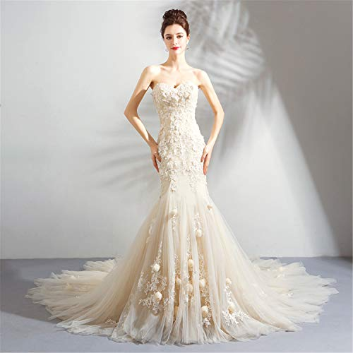 Rückenfreies Seide Top (Hochzeitskleid,Brautkleid Für Frauen Fischschwanz Sexy Lange Tube Top V-Ausschnitt Dreidimensionale Blume Prom Ball Cocktail Party Kleid)