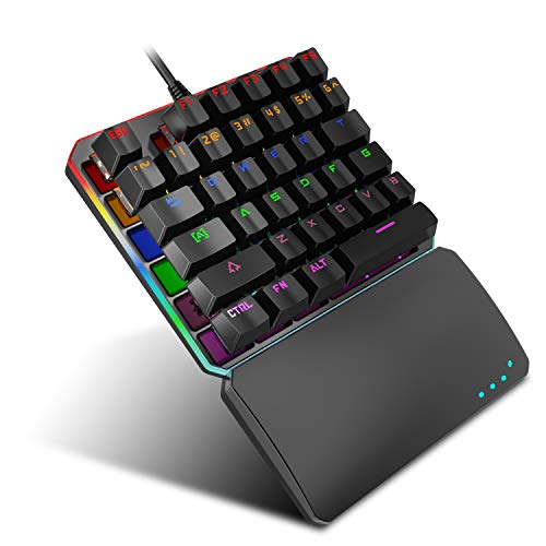 Einhändigmechanische Gaming-Tastatur, tragbare Wired Mechanical Switch Gaming Keypad, RGB LED Hintergrundbeleuchtung Draht Spiel Tastatur - Draht-strecke