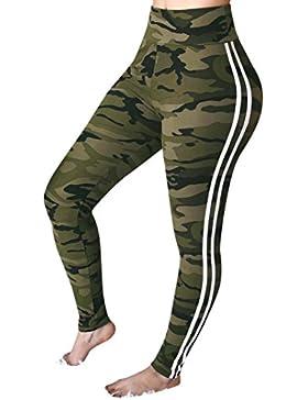 DOGZI Mujer Yoga Cintura Media Camuflaje a Rayas Pantalones Deportes Corriendo Leggings de Entrenamiento Yoga...