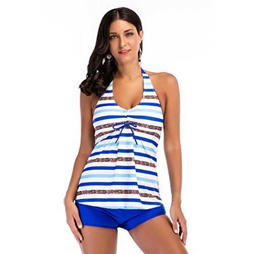Damen Pailletten Streifen Bikini Sets, Zwei Stück Badeanzüge Badebekleidung Strand Halfter Briefs (44, Blau) (Stück Halfter Bademode 2)