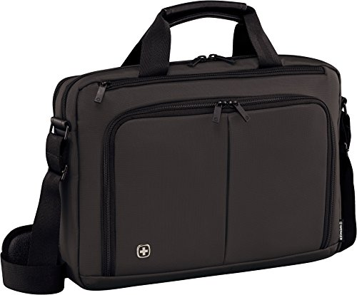"Wenger 601065 SOURCE 14"" Laptop Briefcase , Padded laptop compartment with iPad/Tablet / eReader Pocket in Grey {6 Litres}"