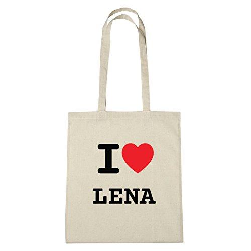 JOllify Lena di cotone felpato b5598 schwarz: New York, London, Paris, Tokyo natur: I love - Ich liebe