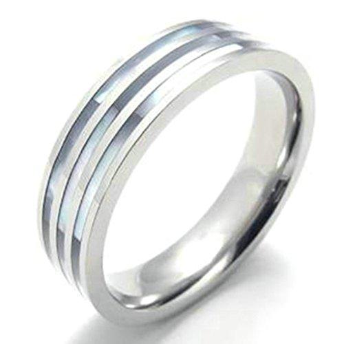 Gnzoe 6MM Titanio acciaio Stripe Matrimonio Anello Fidanzamento Anello,Argento, Dimensioni 20