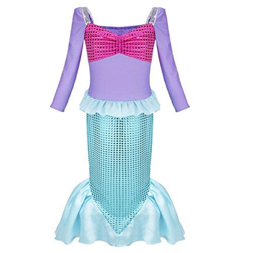 Freebily Meerjungfrau Kostüm Mädchen - Prinzessin Kleid - Meerjungfrau Kleid für Fasching Karneval Party Halloween - Lila und Grün in Größe 98-152 Lila & Grün 110-116/5-6 Jahre