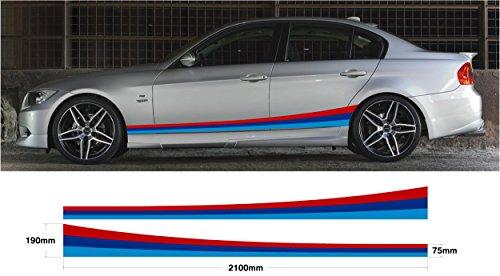 BMW M Couleur de voiture en Graphic Side Stripe M Sport E30 E36 E39 E46 E60 E90 M3 M5 (ss20009)