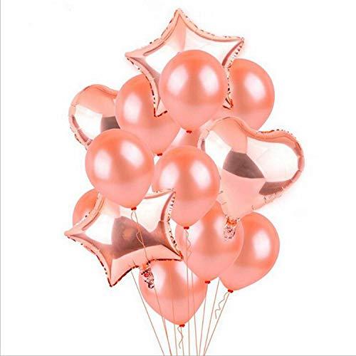 TOOGOO 14 Stueck 12 Zoll 18 Zoll Multi Luft Ballons Happy Birthday Party Helium Ballon Dekorationen Hochzeit Festival Party Supplies (Rosegold) (Offenbaren Halloween Geschlecht)