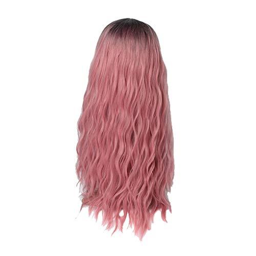 Damenperücken 65 cm/Dorical Frauen Rosa Wigs/Stilvoll Lang Lockiges Perücke/Haarteile für Karneval Fasching Cosplay Party Kostüm für verschiedene Hautfarben(Rosa)