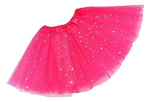 L & L Damen Kinder funkelnd Paillette Ballett Tutu Party Kostüm Tanz Halloween Röcke - Hot Pink, Kid