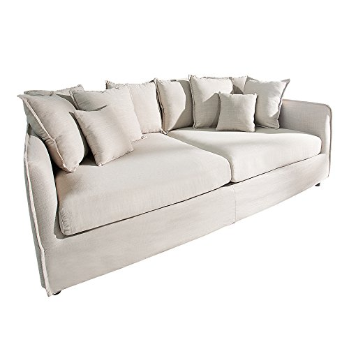 Großes Sofa DREAMER 215cm beige Hussenstoff Leinenstoff 3er Sofa Couch Hussensofa Stoffbezug