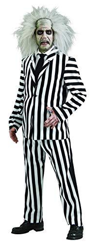Kostüm Beetlejuice Männer - Halloweenia - Herren Männer Beetlejuice Deluxe Kostüm mit Hose, Hemd, Krawatte und Jacke, perfekt für Karneval, Fasching und Fastnacht, M/L, Weiß